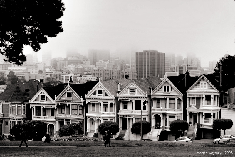 San francisco black and white pictures golden gate bridge · painted ladies