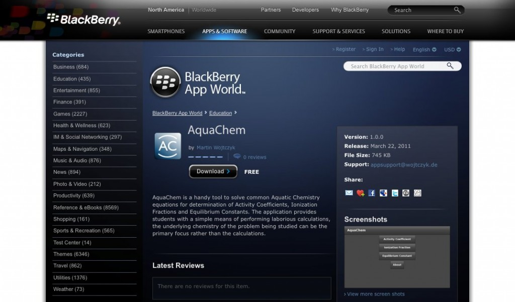 AquaChem at BlackBerry App World