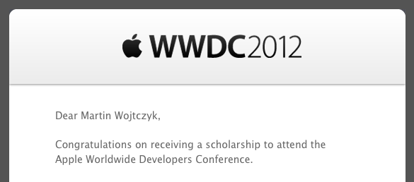 Scholarship notification email for WWDC2012