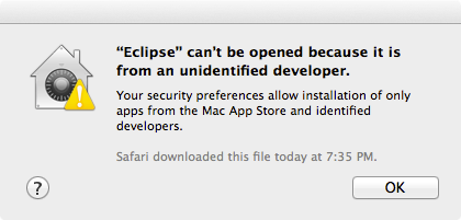 Eclipse sandboxed by Mac OS X Gatekeeper.
